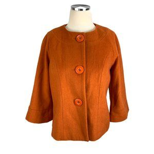 Jerry Lewis XS Orange Lined Wool Blazer Jacket